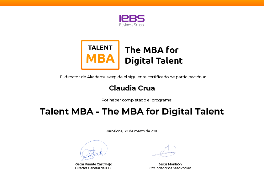Certificado Talent MBA by IEBS